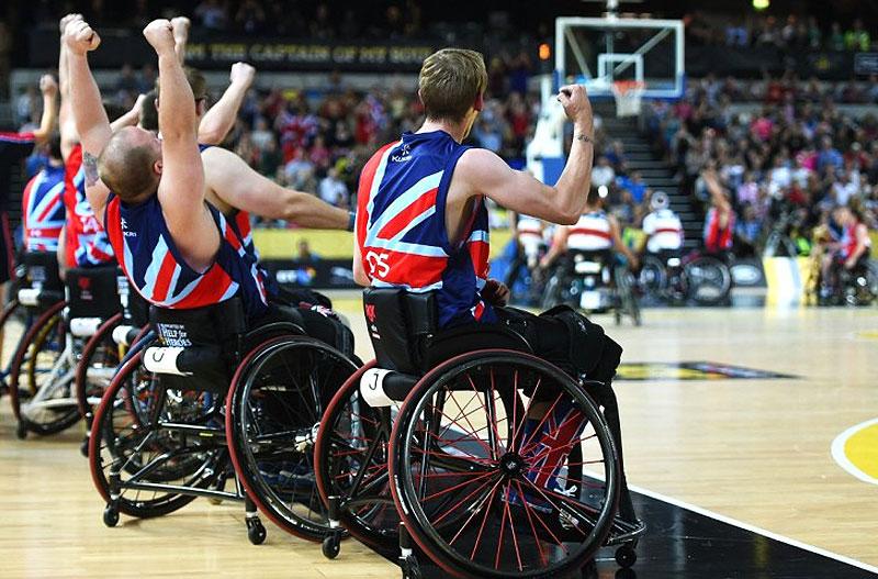 Preparación del equipo paralímpico de baloncesto británico.