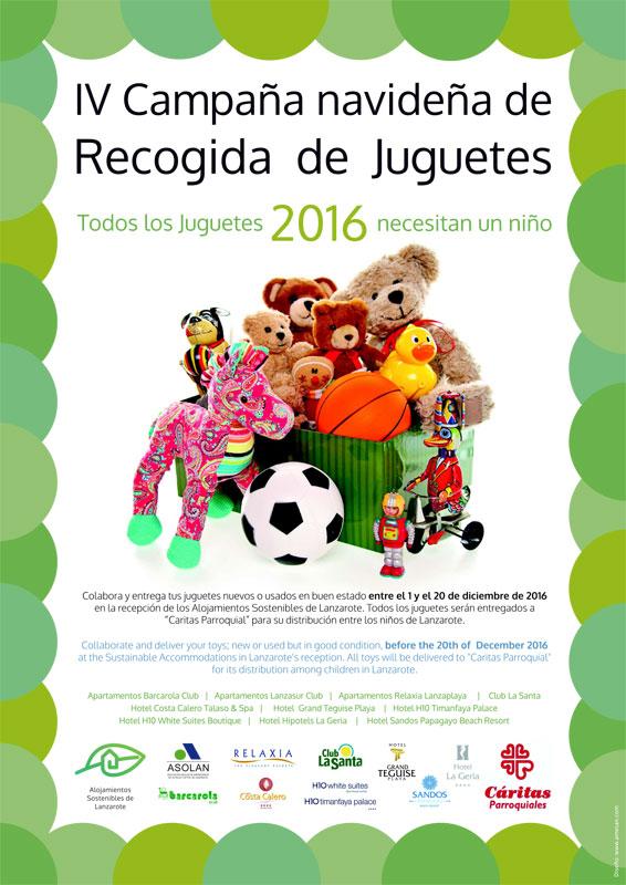 El Grupo Alojamientos Sostenibles de ASOLAN ha iniciado la cuarta Campaña de Recogida de Juguetes